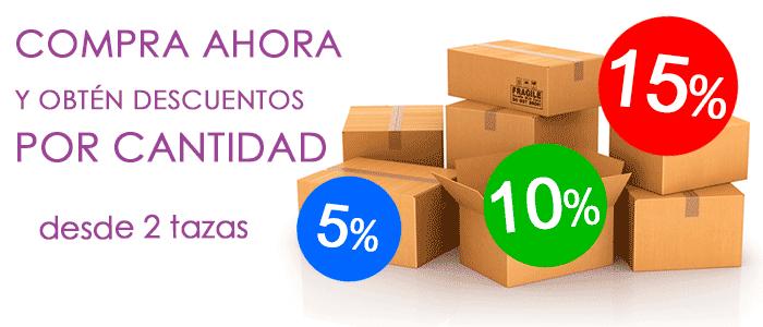 descuentos 5% 10% 15% por cantidad de tazas Carajote.es
