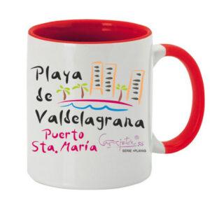 Taza serie +PLAYAS Playa de Valdelagrana Puerto de Santa María en Rojo (Oferta)
